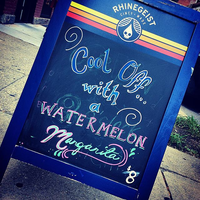 The sign says it all... 🍬💦🍉💦🍬 #otrcandybar #overtherhine #beattheheat #watermelon #margarita #cincinnati #summer #cincibars #tequila #eljimador #cocktails #ahhh