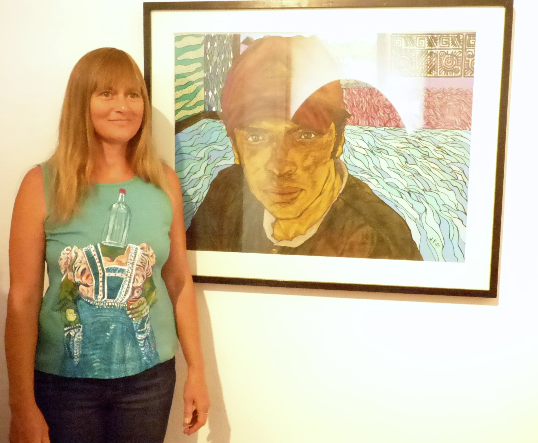 Jean with El Mecanico (and BottleHead painted shirt). at opening 3/25.