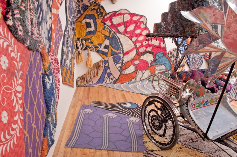 These large-scale, one-of-a-kind collage rugs were crafted using multiple weaving techniques that needed to be assembled in five phases. Along with the Rickshaw, they were exhibited as an installation at Anthropolgie's Rockefeller Center flagship store and sold on their website.