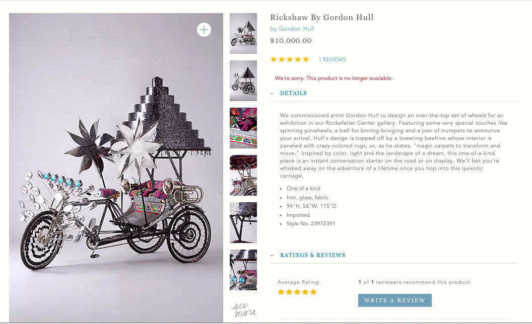 The one-of-a-kind Rickshaw- known as the Rick James- was created almost entirely out of pieces of mosaic mirror, and had two giant working pinwheels as well as a 'bees nest' roof top covering. It sold for $10,000.