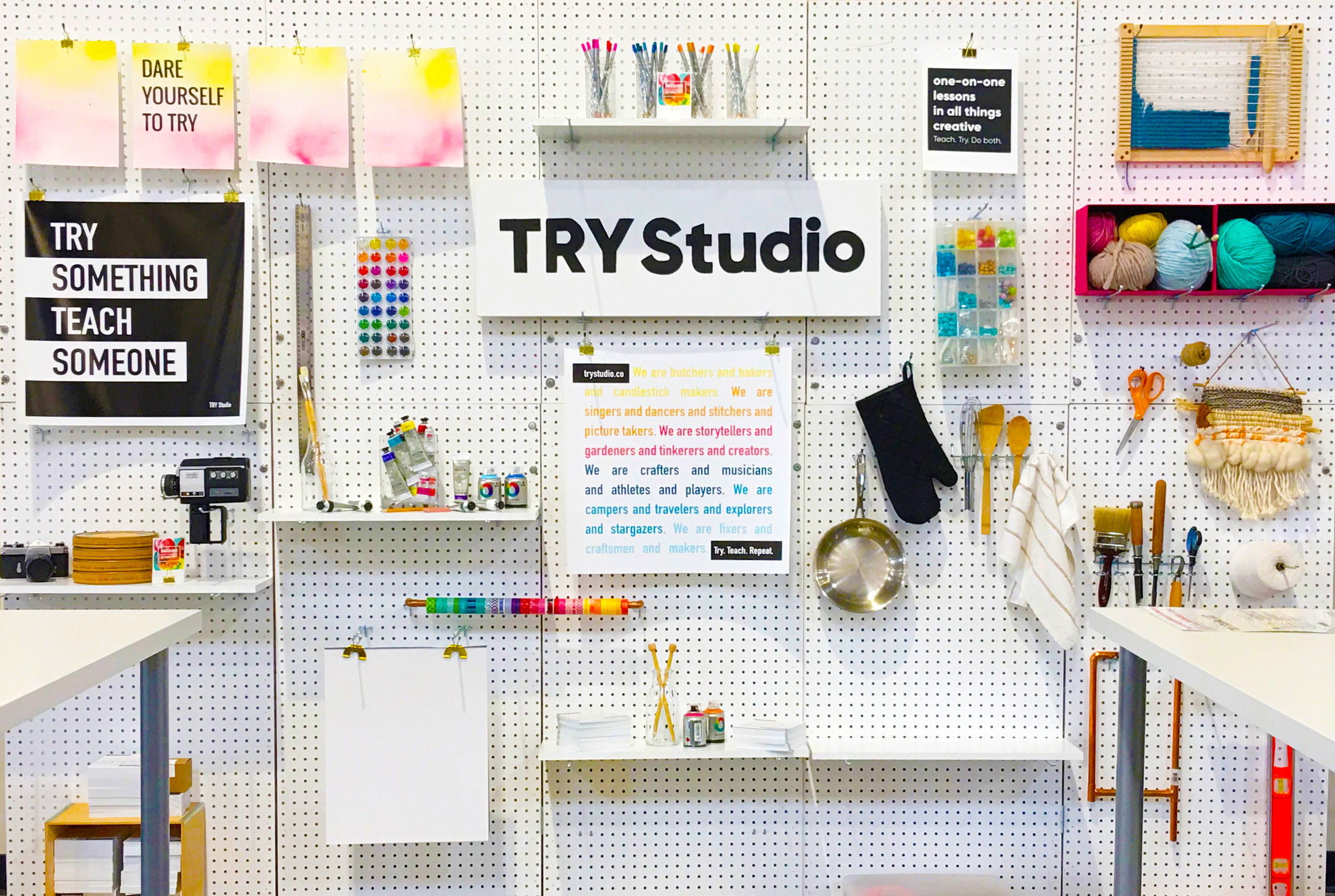 TRY Studio Wall - This 10' x 10' debuted at Maker Faire Bay Area 2017. The goal: translate the feeling of learning something—anything creative—into a physical space.
