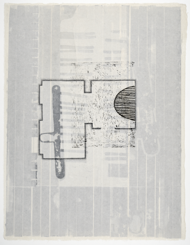 """Gebäudeplan II  25"""" x 19""""  offset relief, litho, monotype, screen and chine colle"""