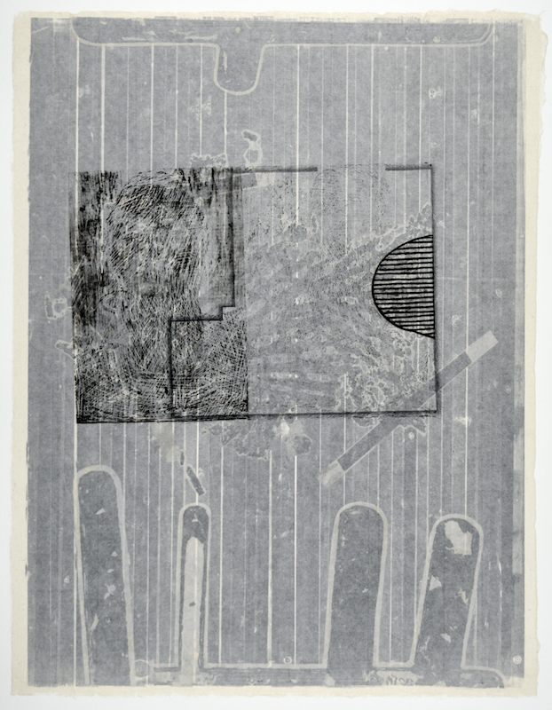 """Gebäudeplan IV  25"""" x 19""""  offest relief, litho, monotype, screen and chine colle  Collection of the Artist Printmaker / Photographer Research Collection – Art Division of the Museum of Texas Tech University"""