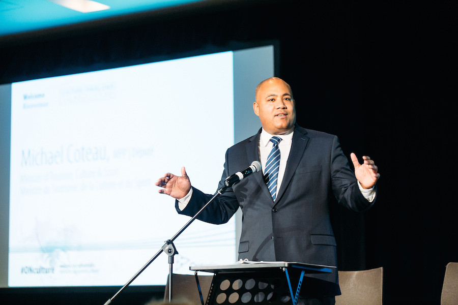 Minister of Tourism, Culture, and Sport Michael Coteau provides opening remarks in Toronto