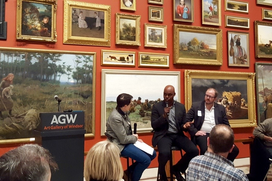 Jane Farrow interviews Cameron Bailey, Artistic Director of TIFF, and Daniel Wells, Biblioasis publisher, at the Art Gallery of Windsor