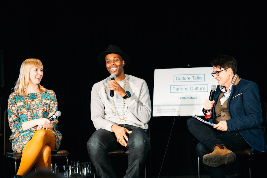 Alana Wilcox, Editorial Director of Coach House Books, and musician Kardinal Offishall are interviewed by Jane Farrow in Toronto