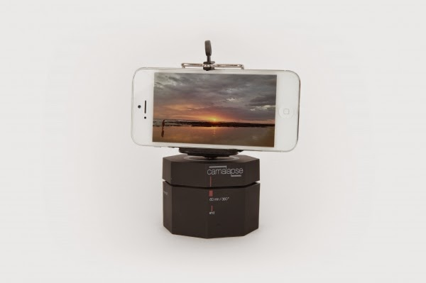 "19.      360degree time lapse! ""Camalapse""  ($30-40)     Capture 360 degree panoramas and time lapse videos on your smartphone easily, with this rotating stand! This also works for small cameras (weighing less than a pound) and can be easily attached to tripods."
