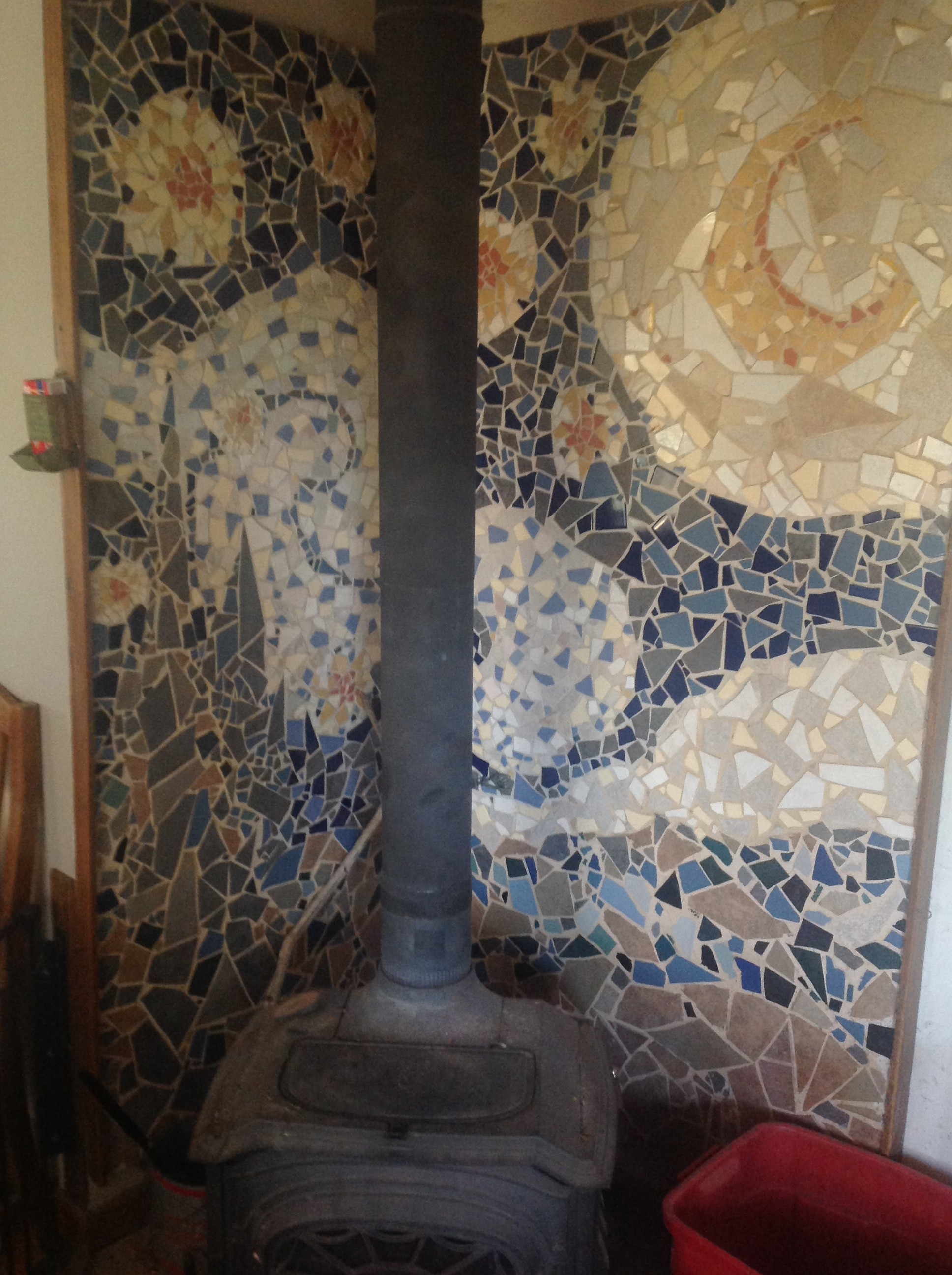 One of the Mosaics in our home. My job? Break the tiles. Oh, they did let me put on one . . . and only one . . . piece . . . with lots of consulting.