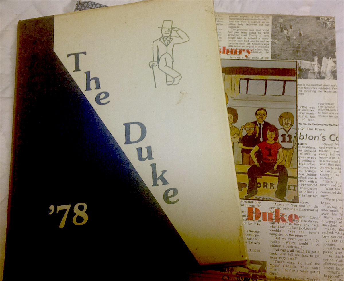 "An archaeological dig found . . .  these yearbooks from the ""glory years."""