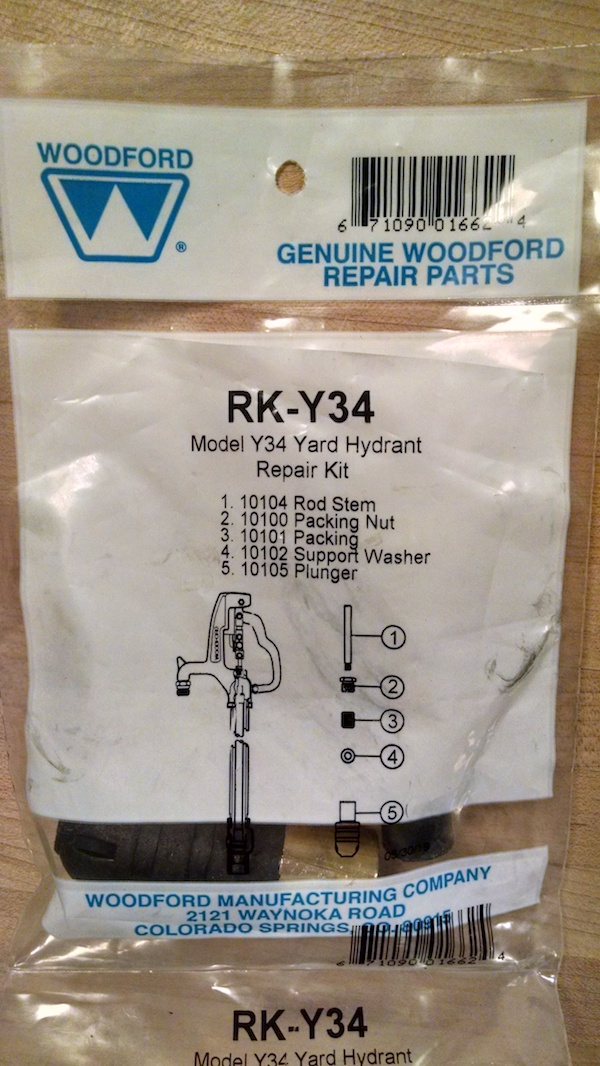 Here is the Woodford parts bag for the repair.