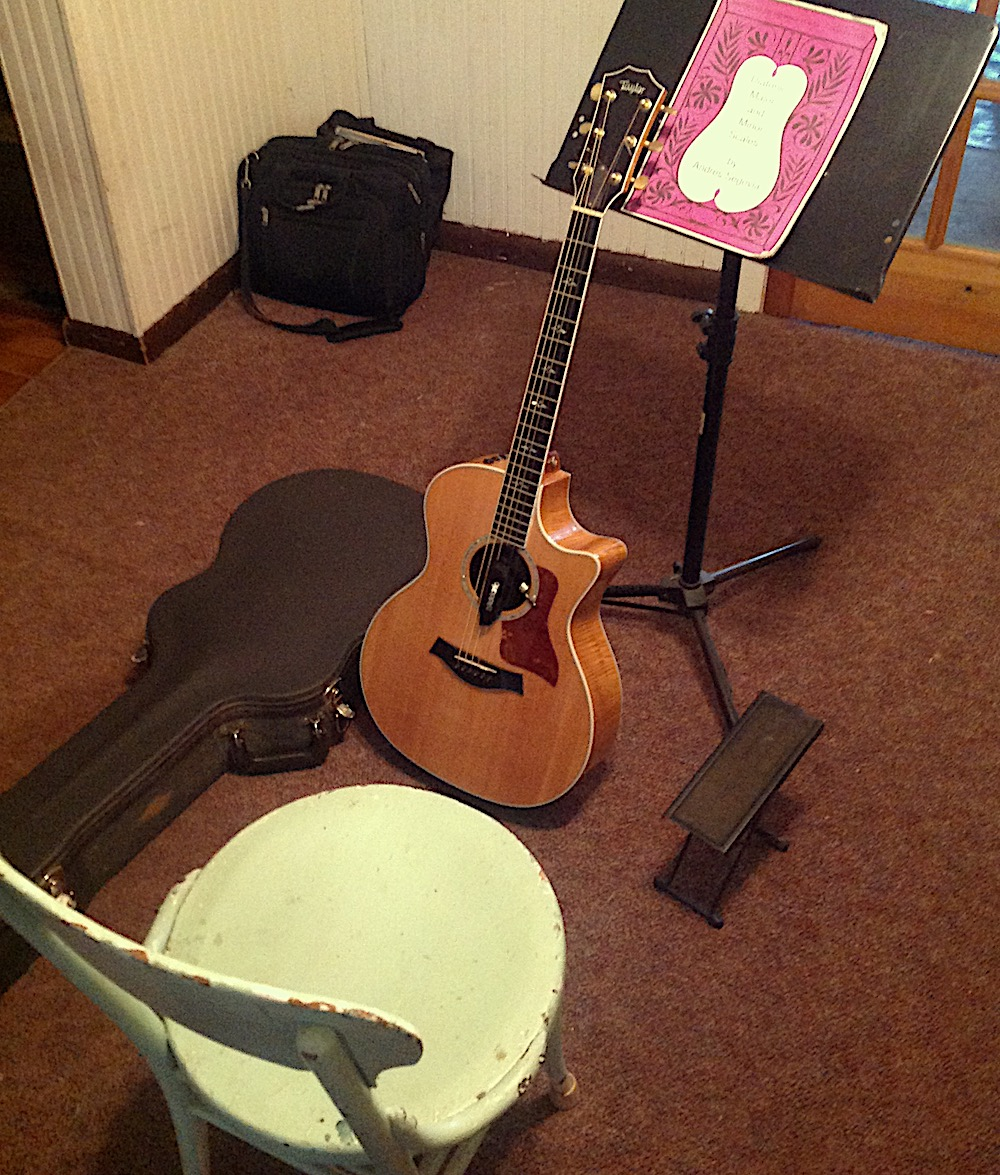 My humble set up. Love my Taylor guitar and the discipline of practice and working toward mastery.