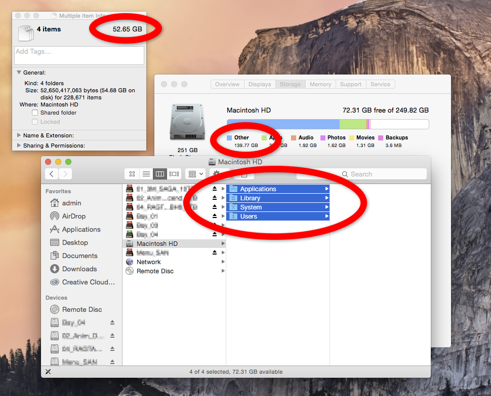 The Get Info window shows the sum of all the folders on my drive as almost 53 GB but About This Mac reports almost 140 GB being used.