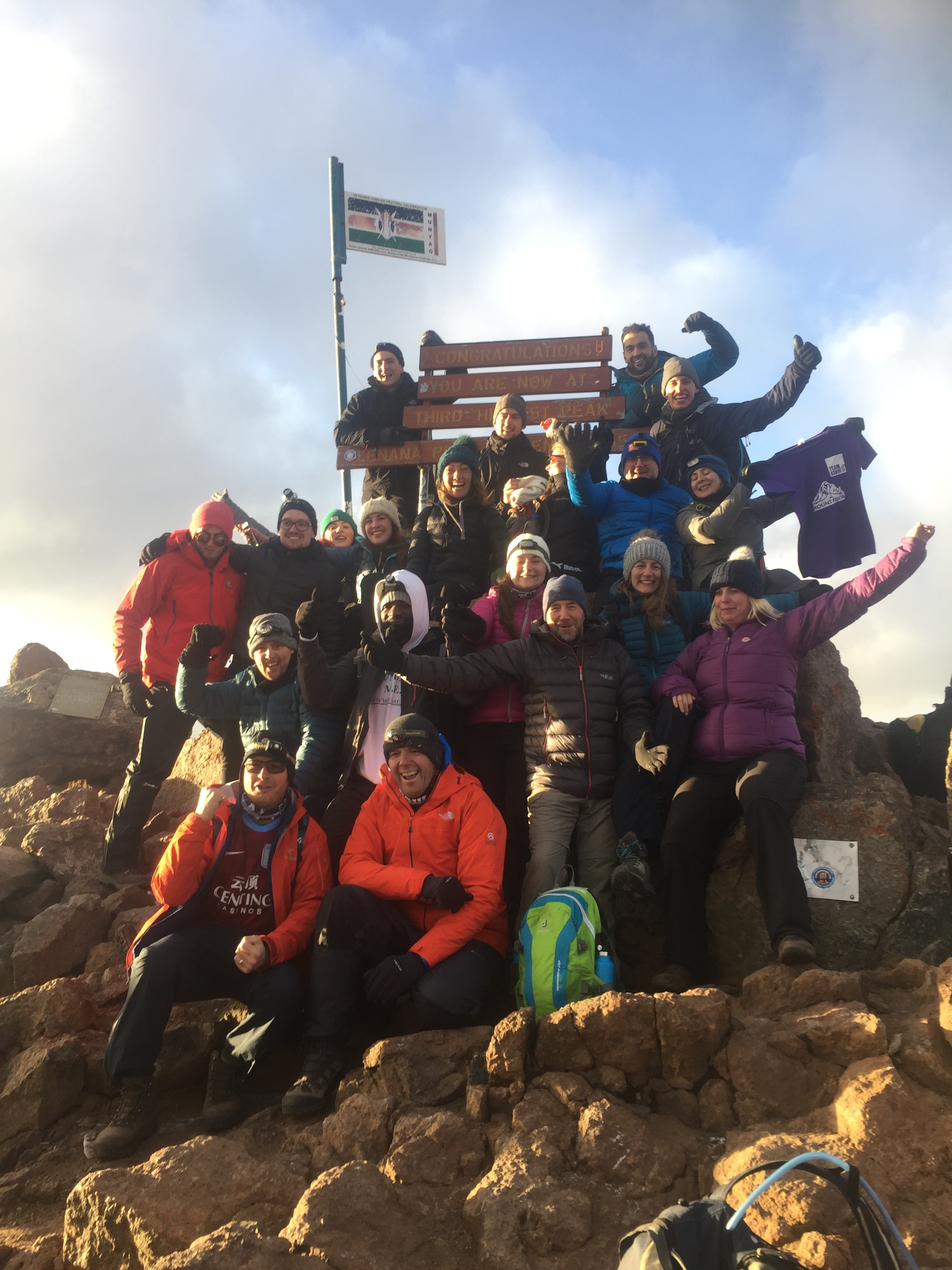 The team at the top of Mount Kenya!