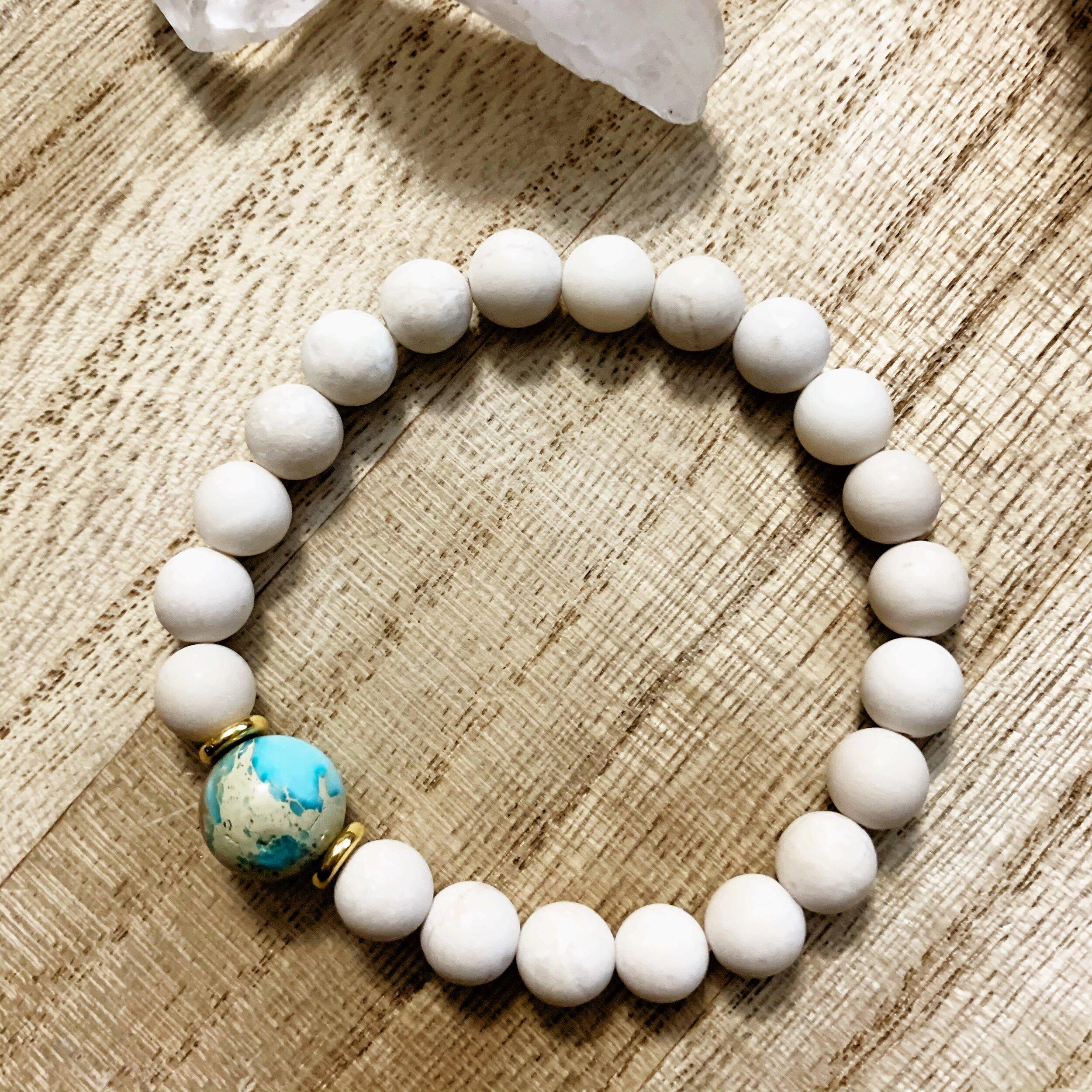 Picture jasper and howlite gemstone bracelet white howlite healing bracelet Picture jasper healing bracelet
