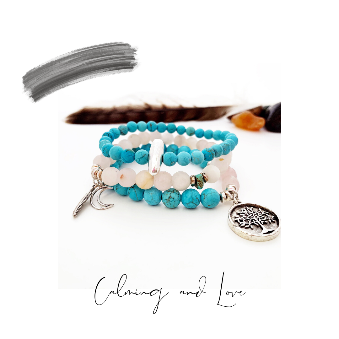 Stretch bracelet African turquoise and rose quartz
