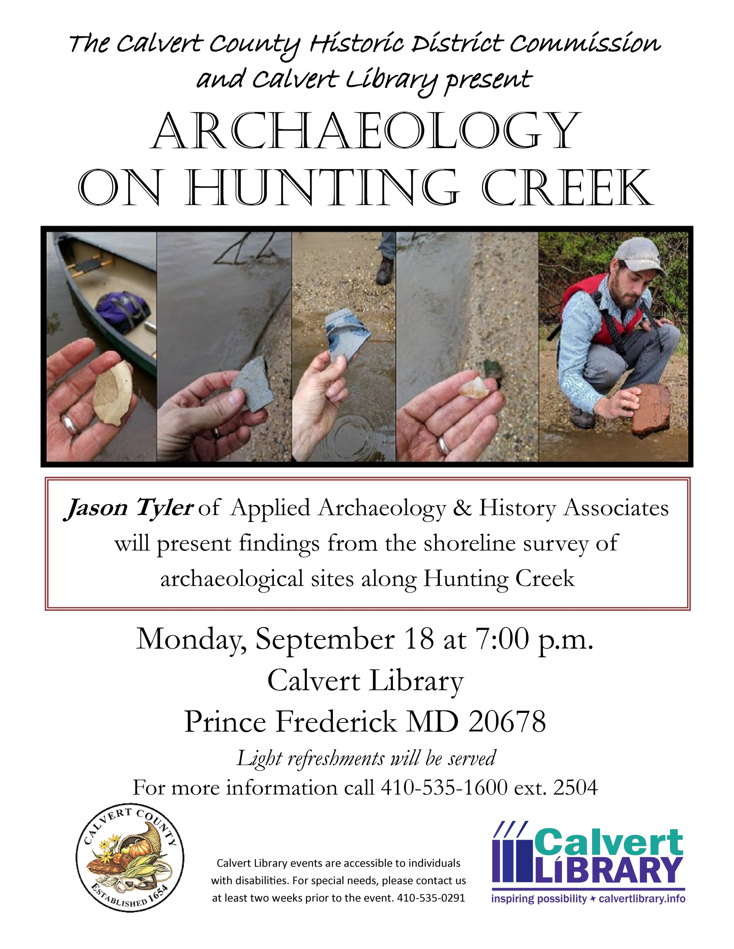 ArchaeologyHuntingCreek_Flyer_final presentation calvert county library 2017 september.jpg