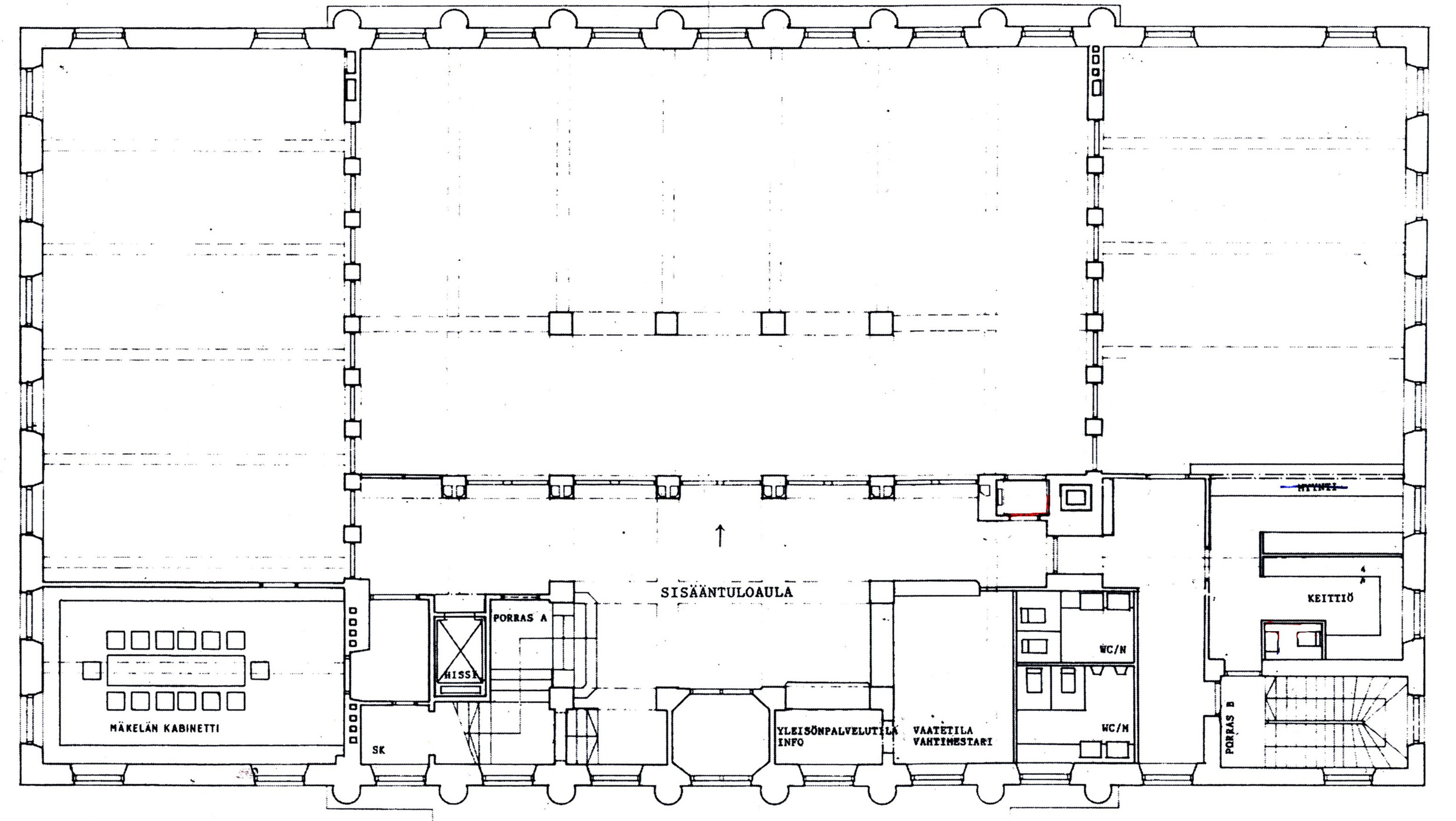 The actual, executed plan shows a more grid based layout for the library.