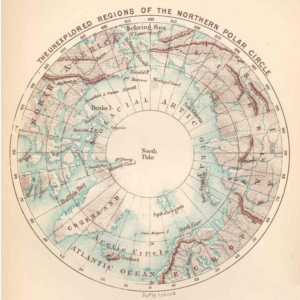 Unexplored areas of the Arctic, circa 1870