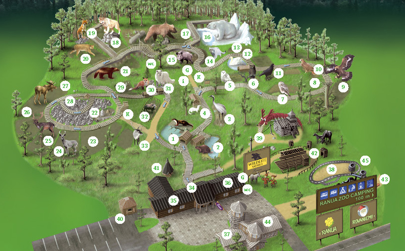 Map of the park - the installation is number 28 on the left. Get the map with a list of animals  here .