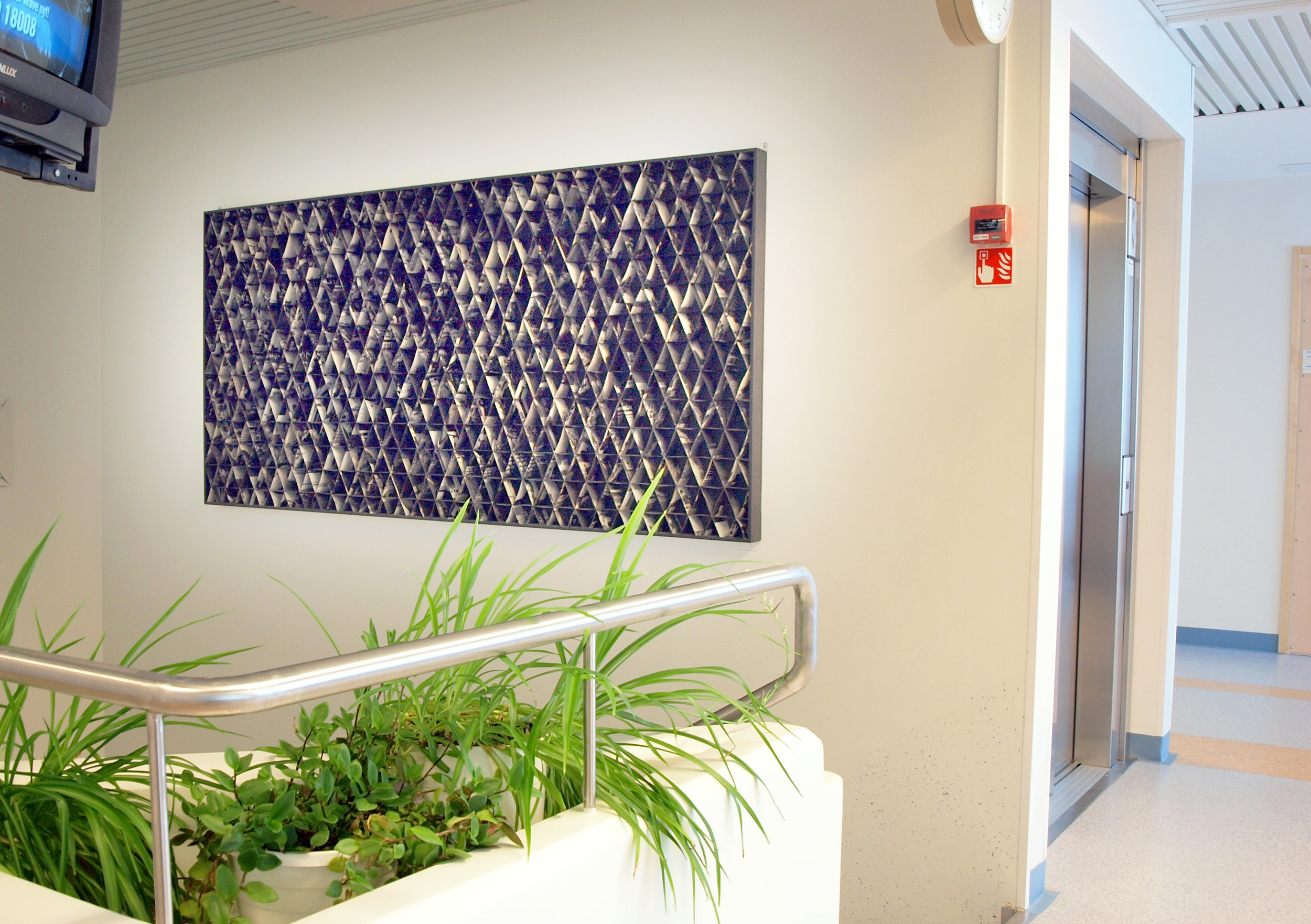 View from the right hands side. Installed at a hospital waiting rooms in Savonlinna.