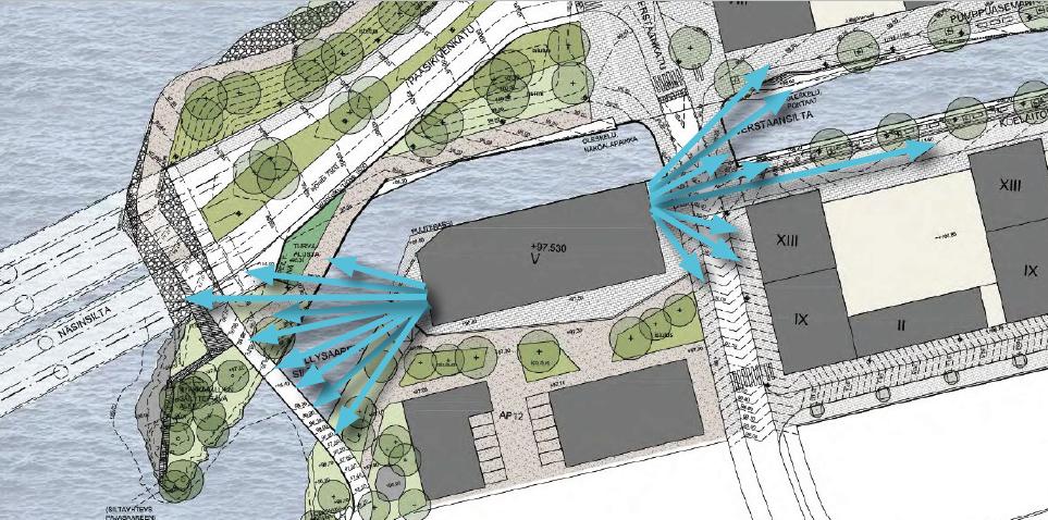 Teos on kaksiosainen, ja sijoittuu rakennuksen itä- ja länsijulkisivuihin muodostaen kokonaisuuden.