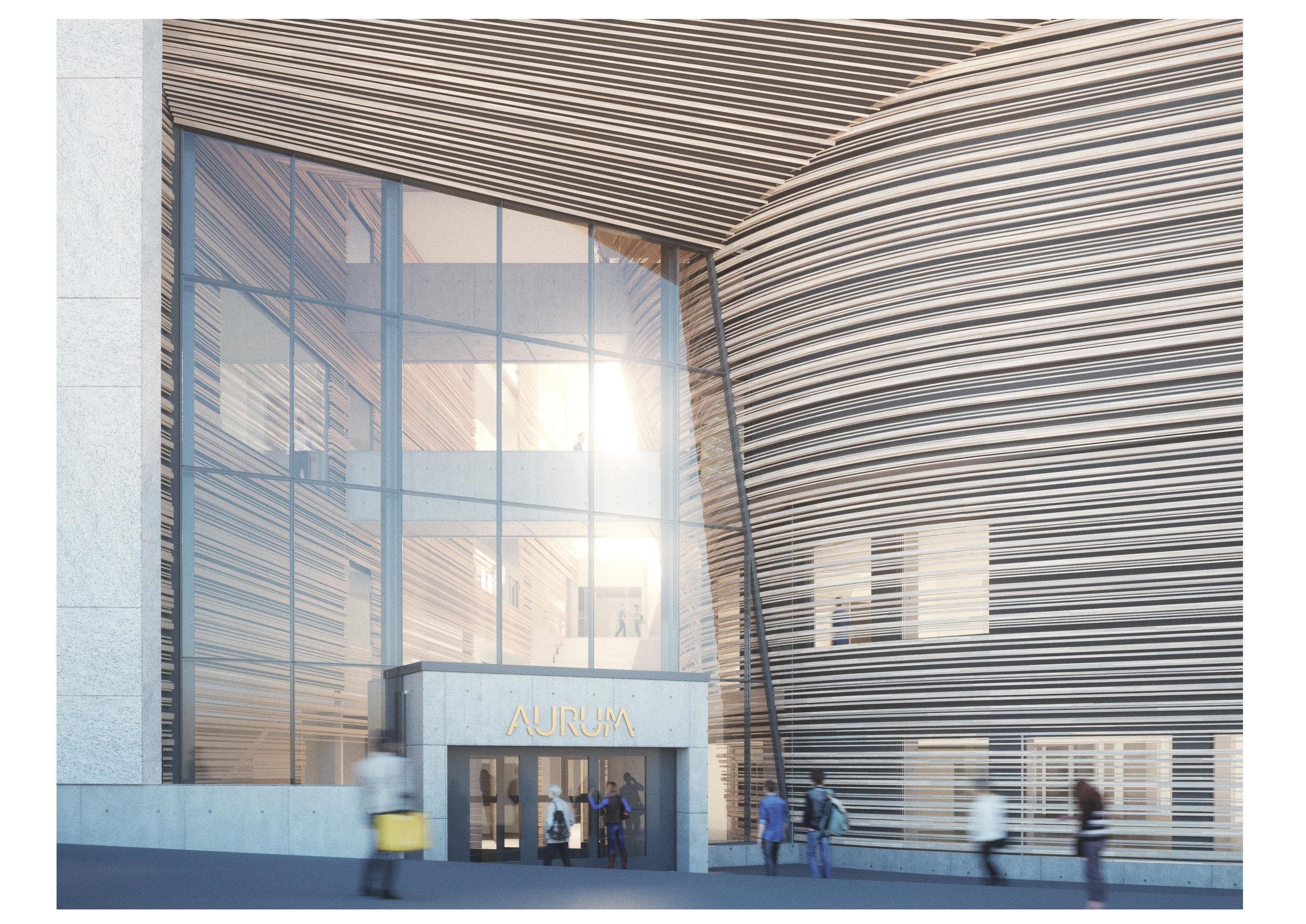 Aurum rakennuksen on suunnitellut  Aihio Arkkitehdit Oy.