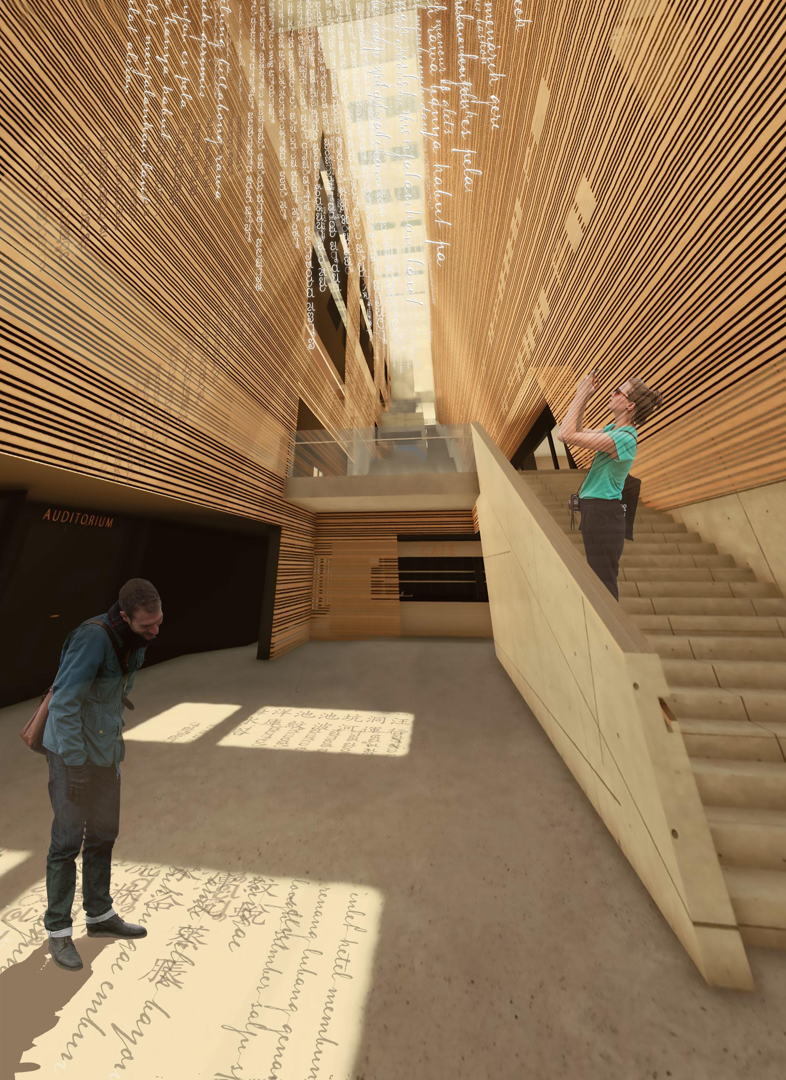 Sanoista muodostuvat nauhat ripustetaan tilaan suoraan katosta siten, että auringonvalo siivilöityy niiden välistä, muodostaen luettavia varjoja lattioille ja seinille eri vuoden ja vuorokauden aikoina.