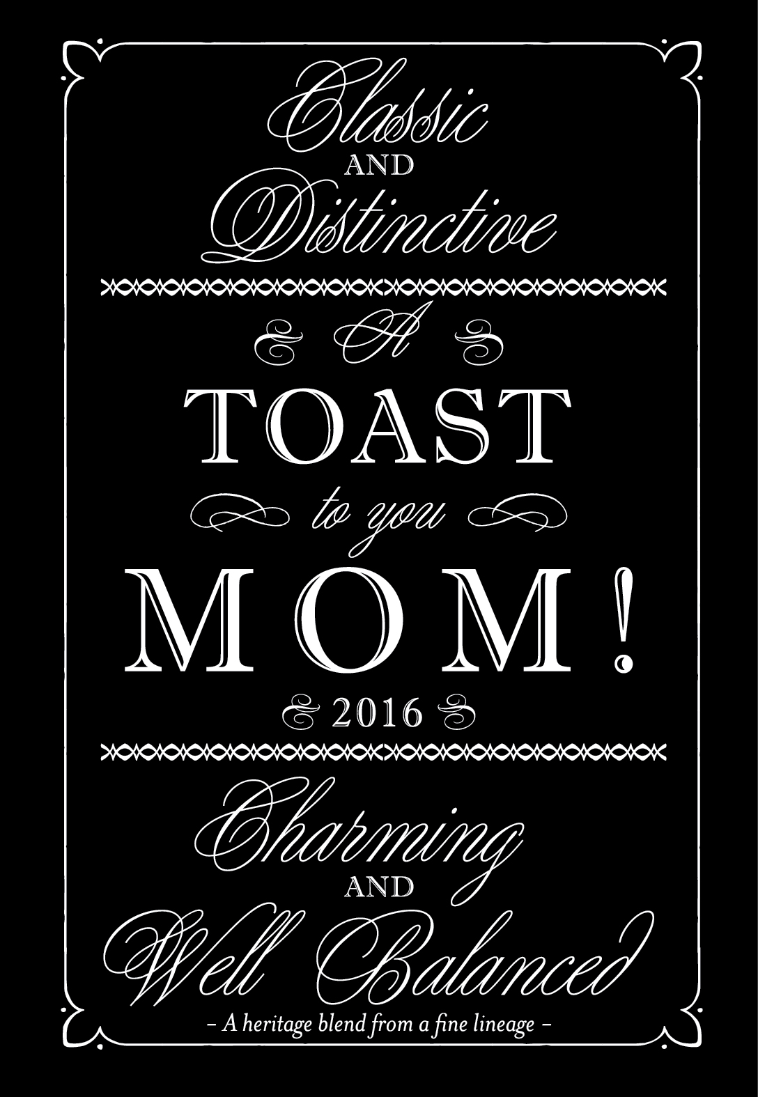 Download Mother's Day Printable Wine Label Template in Black & White