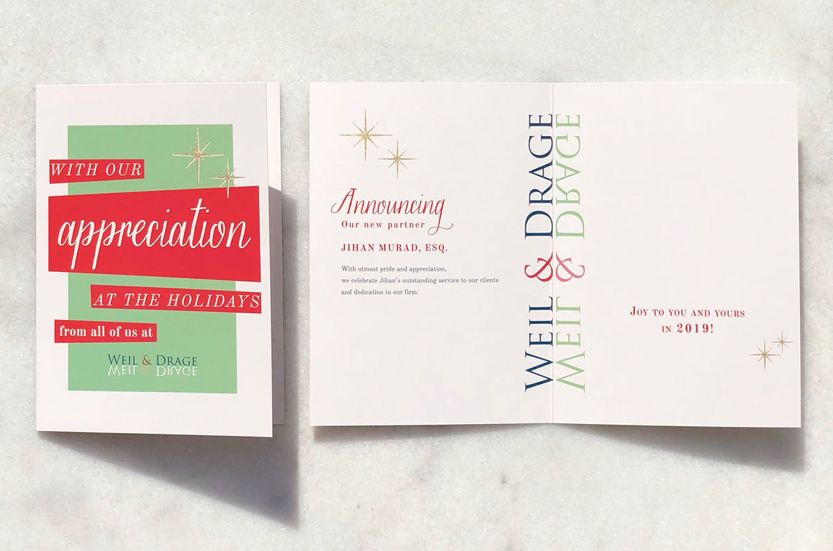 Printed on 14 pt double side UV coated with glossy finish these holiday cards are sure to deliver the holiday cheers.