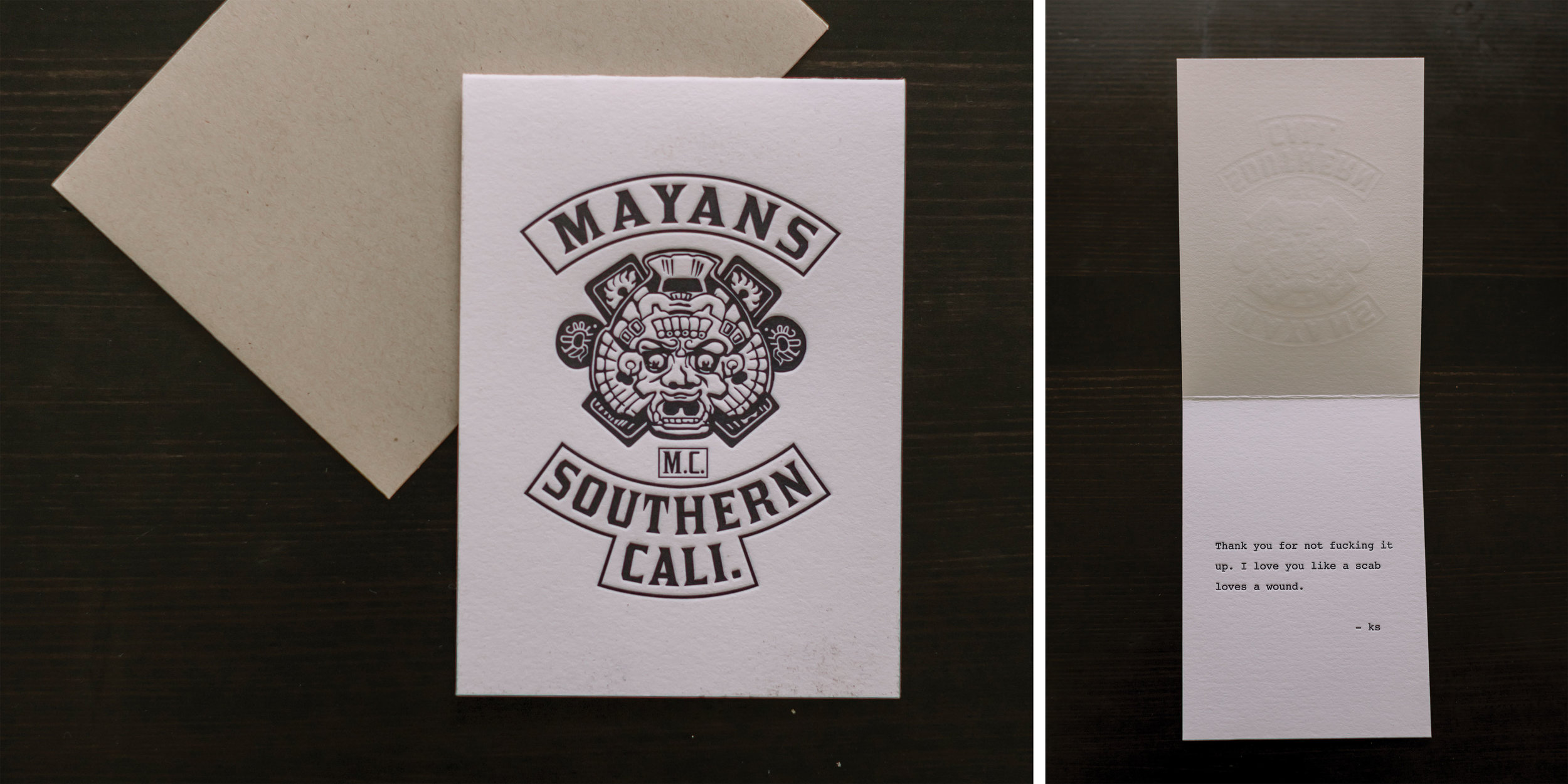 Letterpress Note Cards for Kurt Sutter printed on Crane's Lettra 110# fluorescent white 100% cotton paper.