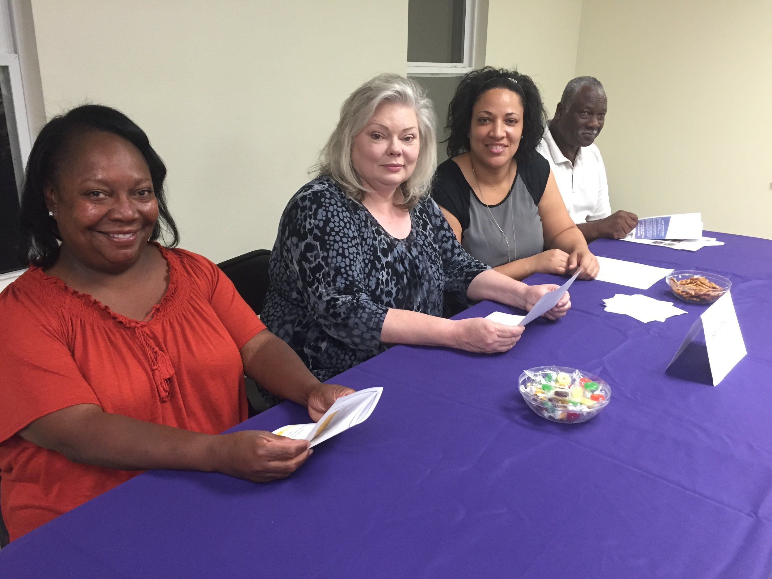 Concerned Citizens of Huttig President Van Page (L) with Union County Clerk Shannon Phillips, Strong Community Leadership Alliance President Edwina Howard, and CCLA member Art Henry inform voters from Strong and Huttig.