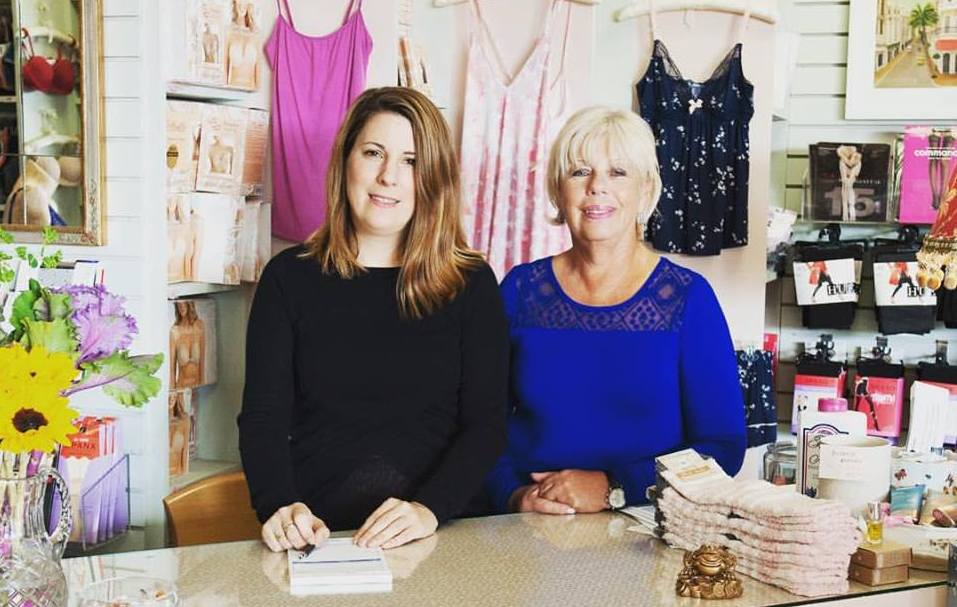 Larisa & Bella love working together to help our customers. We create a kind and respectful environment for a vast range of smart & discerning women. (Photo at the original Chantilly Lace on Central Street.)