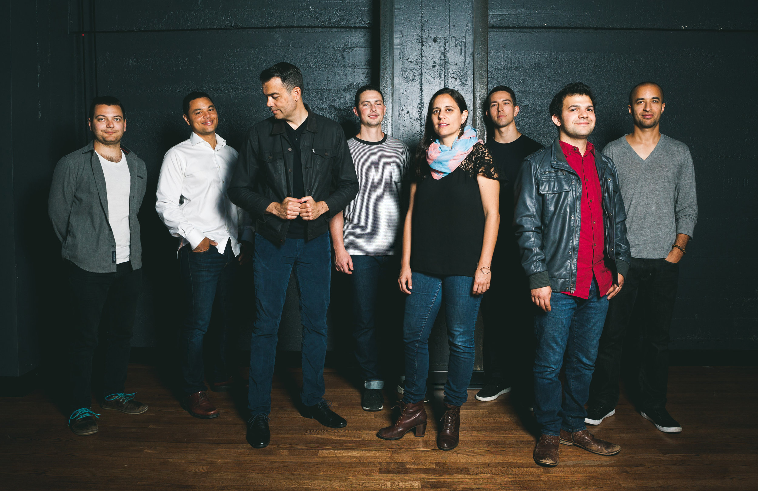 Negative Press Project  - L-R: Luis Salcedo (Guitar), Lyle Link (Soprano/Alto/Tenor Sax), Andrew Lion (Bass), Rafa Postel (Trumpet), Ruthie Dineen (Piano/Keys), Chris Sullivan (Alto Sax), Isaac Schwartz (Drums), Tony Peebles (Tenor Sax) -  Click pic to access Hi Res Photo for Download from DropBox