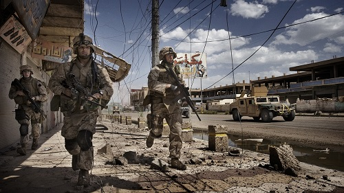 Only The Dead - Credit Yuri Kosyrev Noor Images U.S. Troops on patrol in Ramadi - Dogwoof Documentary