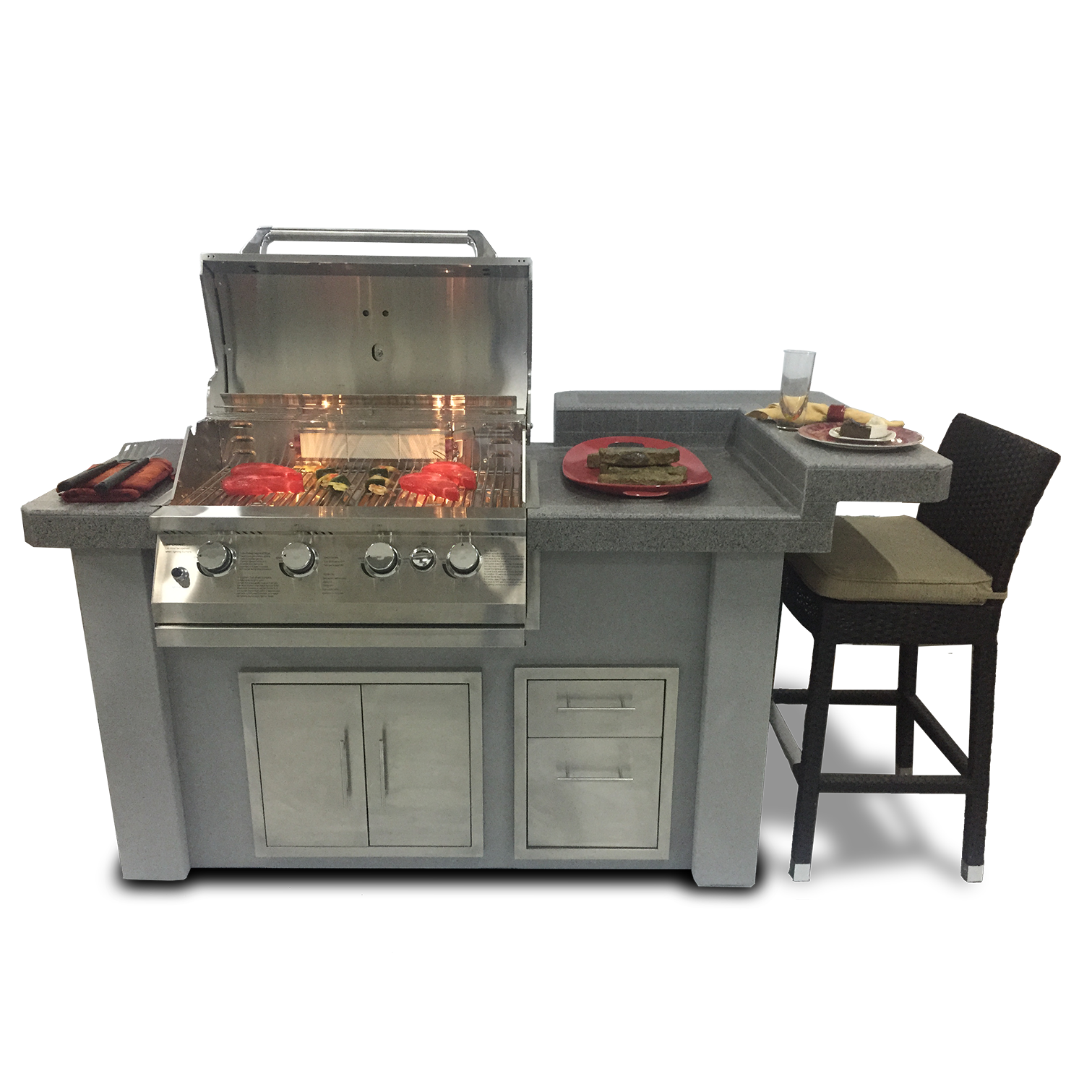 Biscayne Series Stucco/Tile Outdoor Kitchen Island    MSRP Pricing: $6146