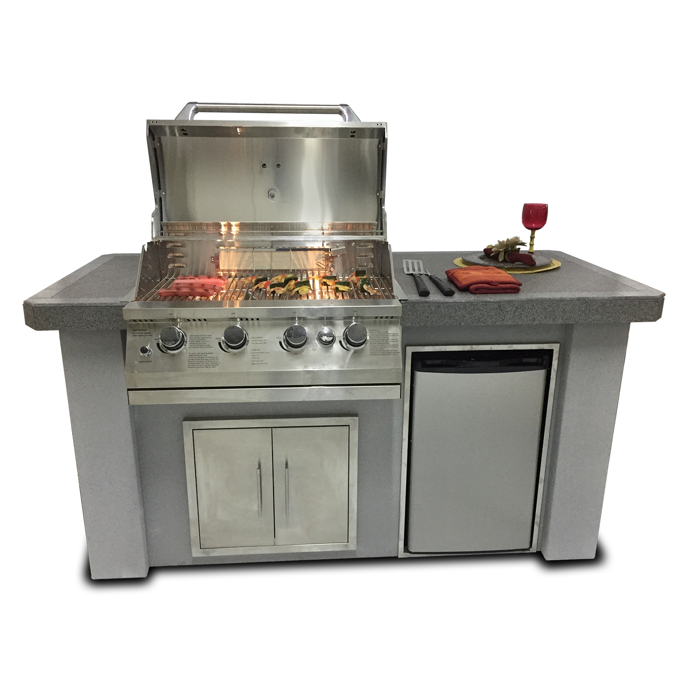 Biscayne Series Stucco/Tile Outdoor Kitchen Island    MSRP Pricing: $6171