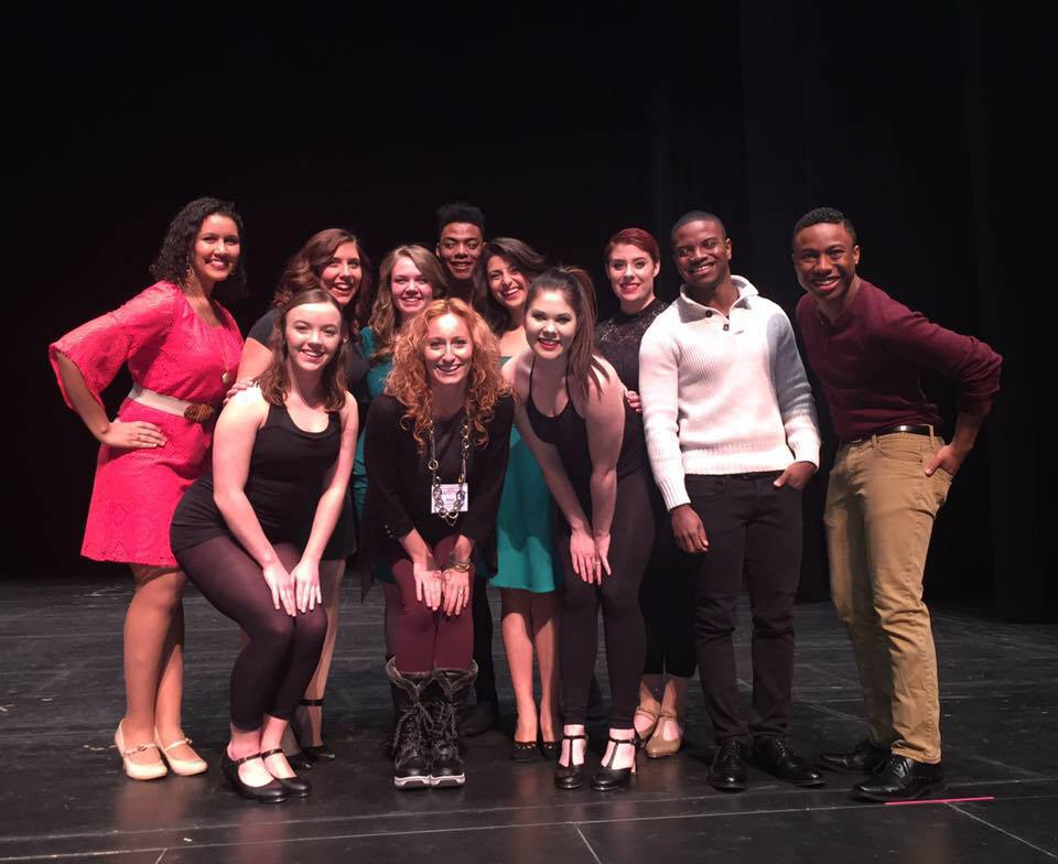 Wichita State University Musical Theatre Intensive participants with their professor, Amy Baker-Schwiethale.