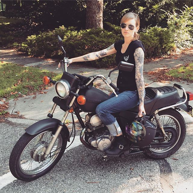 Happy Friday! Here's a flashback ok @kellytins on her first bike and her badass new bike. #fbf