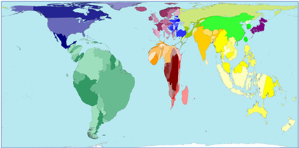Mapa 1: recursos hídricos mundiales