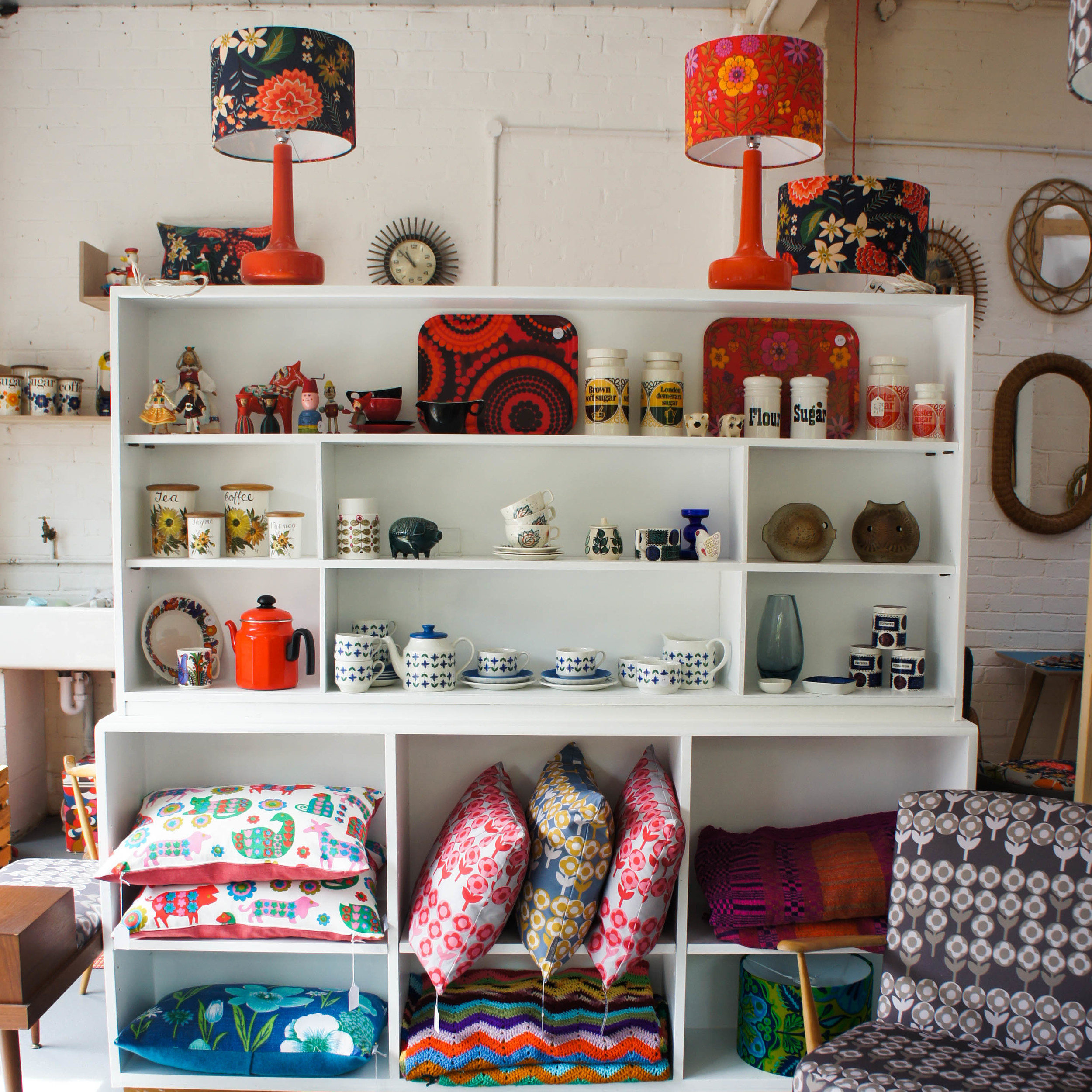 Cushions galore in vintage fabrics and our own Verdure fabric.