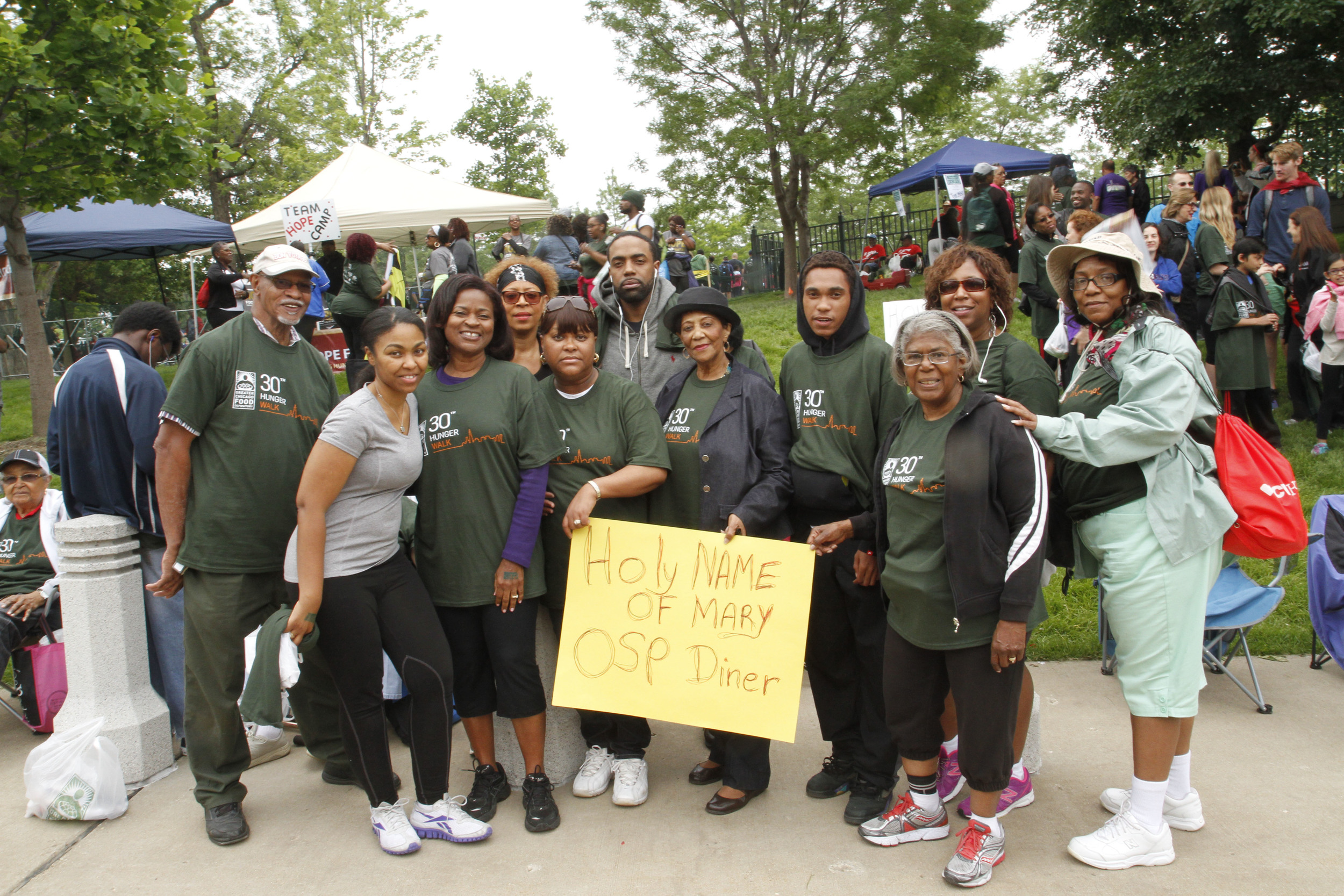 Volunteers attend the Greater Chicago Food Depository Hunger Walk to support OSP Diner.