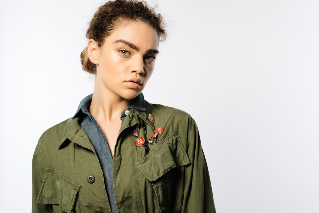 On Model: Sir & Madame Split Back Shirt in denim , vintage jacket, Sir & Madame Pins