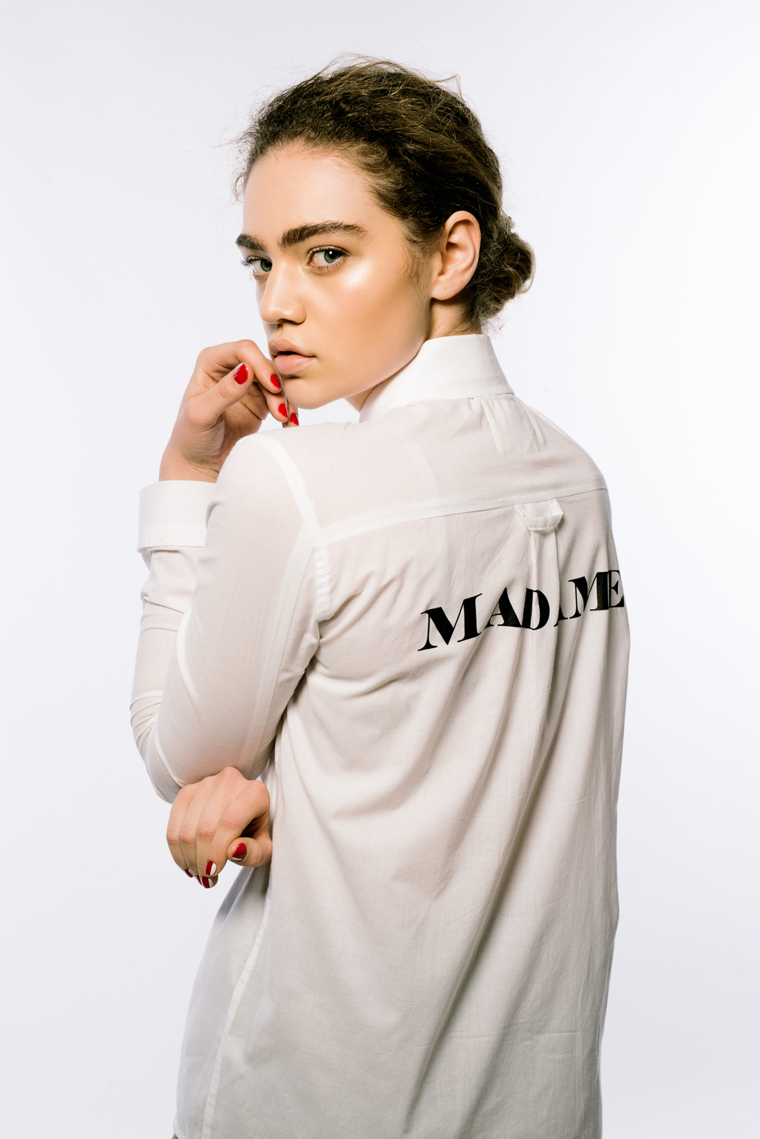 On model: Sir & Madame 'Madame' Button Up Shirt in white
