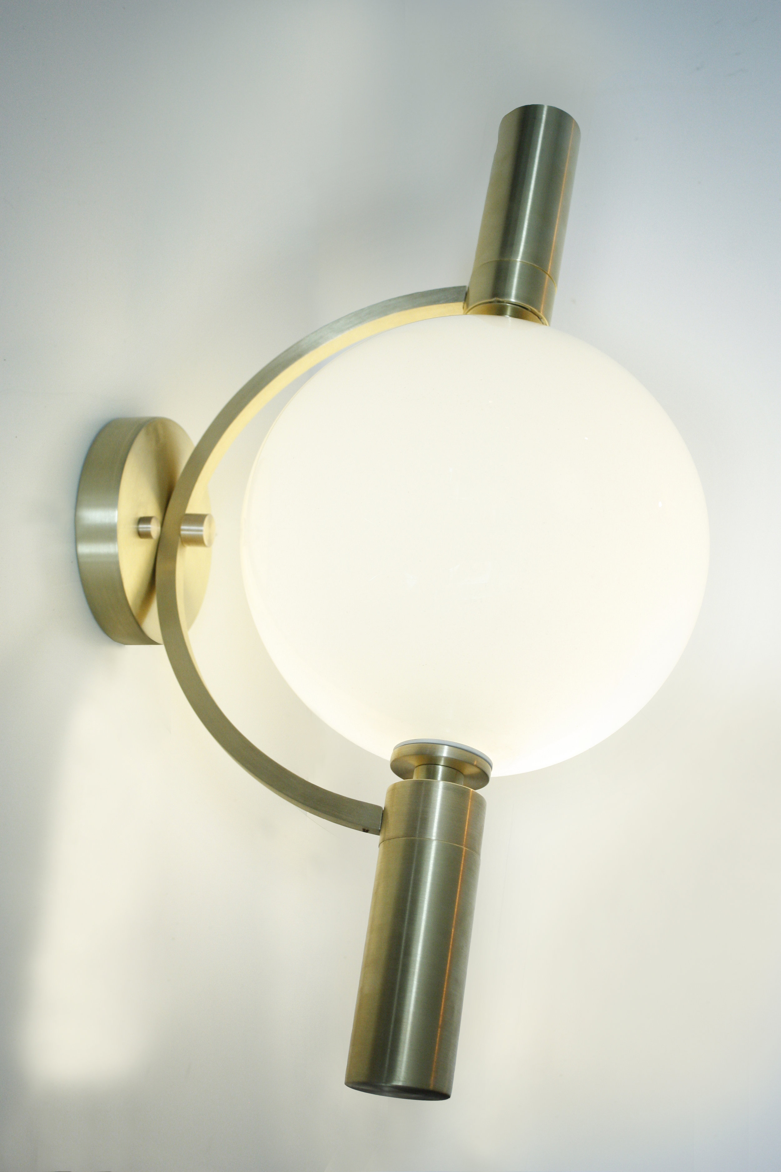 "BARRE Sconce / Flush Mount     10"" globe with Brushed Brass, Customizable Metal Finishes and Glass Colors  The piece rotates on canopy.  LED, UL listed"