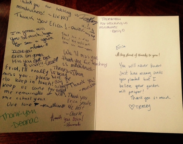 Card signed by Deering HS mindfulness students