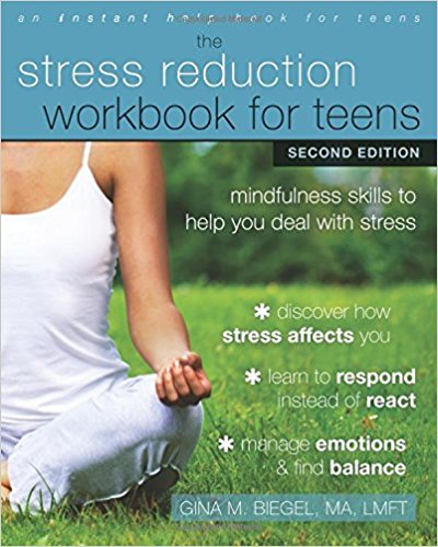 """"""" The Stress Reduction Workbook for Teens  is a collection of simple workbook activities that will teach you to reduce your worries using a technique called mindfulness. Mindfulness is a way to be aware of your thoughts and feelings in the present moment. You can use mindfulness when you start to feel as though things are spinning out of control, so you can stop worrying about what might happen and focus instead on what's happening now."""