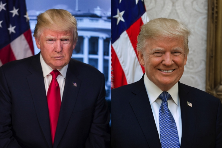 Previously distributed official portrait vs the now current official portrait of President Trump.