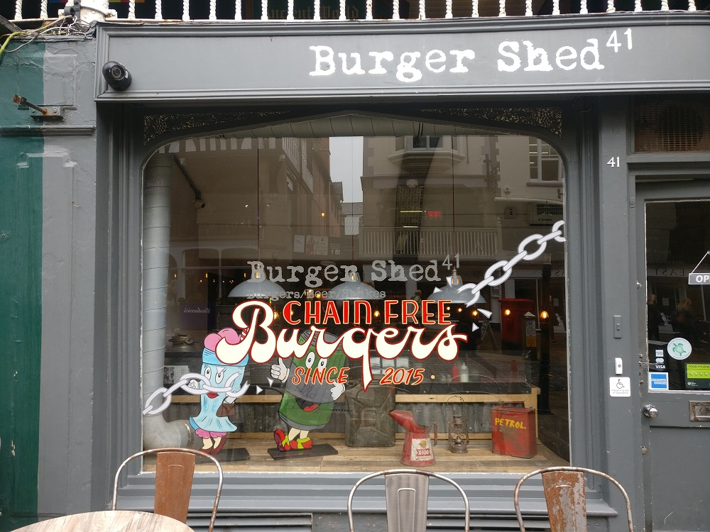 Temporary window splash at Burger Shed in Chester.