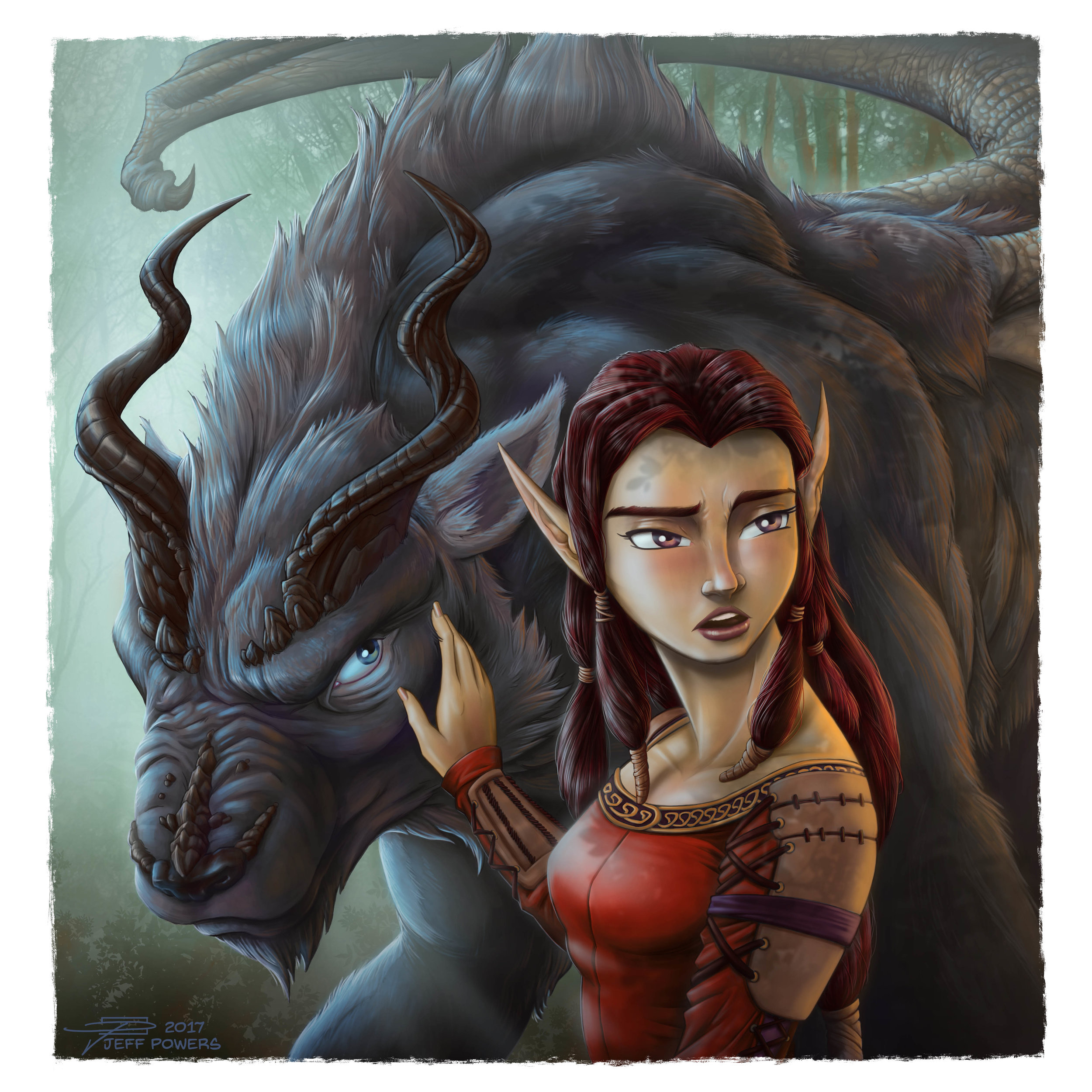 Elf Maiden and Dracowolf