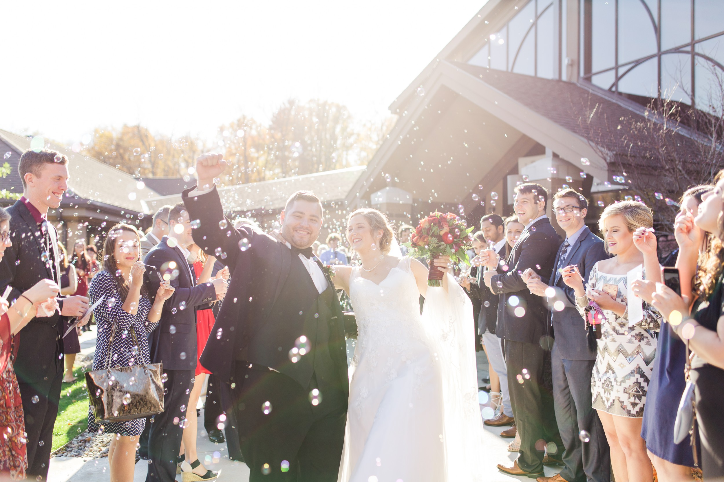 Baltimore Wedding Photographer, Brandon C Photo, capturing a beautiful bubble exit from a Fall wedding in Maryland.
